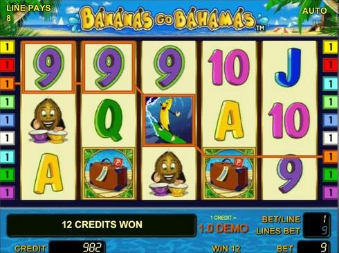 Комбинация с диким символом в игре Bananas go Bahamas