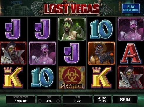 Выигрышная комбинация символов в Lost Vegas